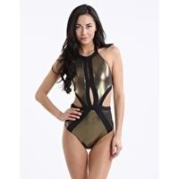 Jets White Label Ignite High Neck Cut Out Metallic One Piece - Gold