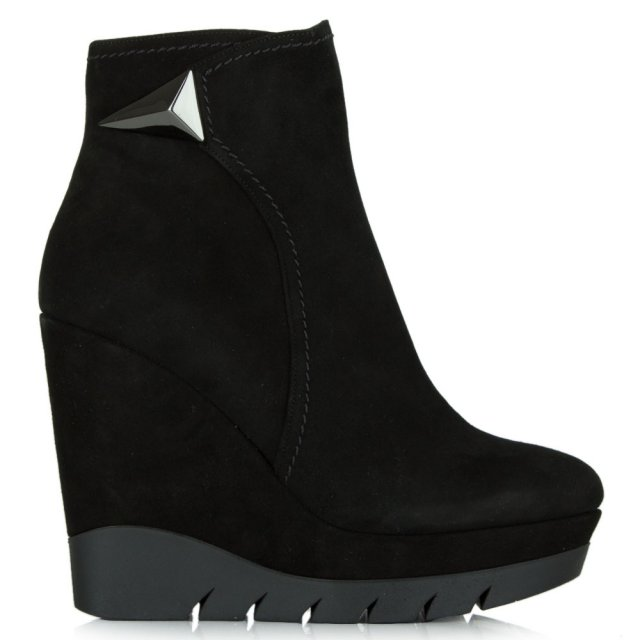 Albano Banff Black Suede Wedge Ankle Boot