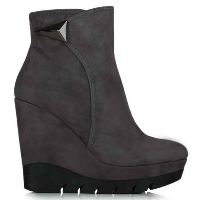 Albano Banff Grey Suede Wedge Ankle Boot
