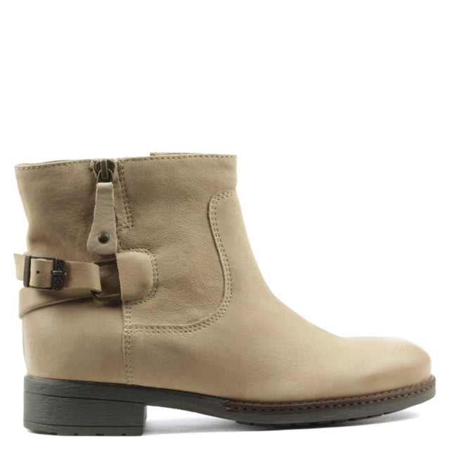 Manas Beige Leather Buckled Ankle Boot