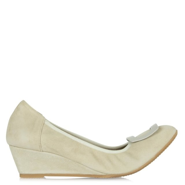 Calpierre Beige Suede Buckle Wedge Shoe