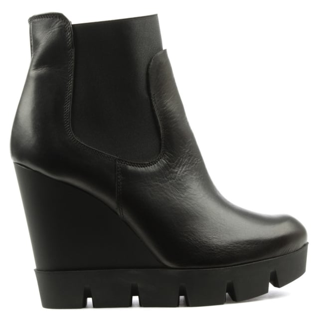 Lea Foscati Black Leather Cleated Wedge Ankle Boot