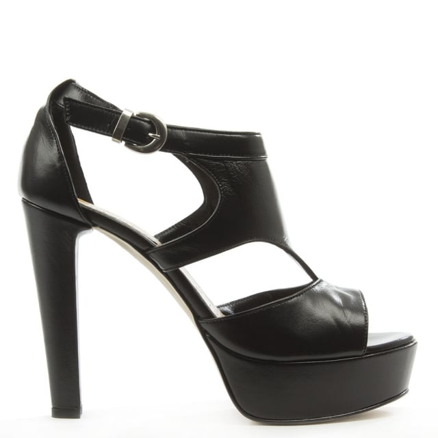 Mani Per Donna Piu Black Leather High Platform Cut Away Sandal
