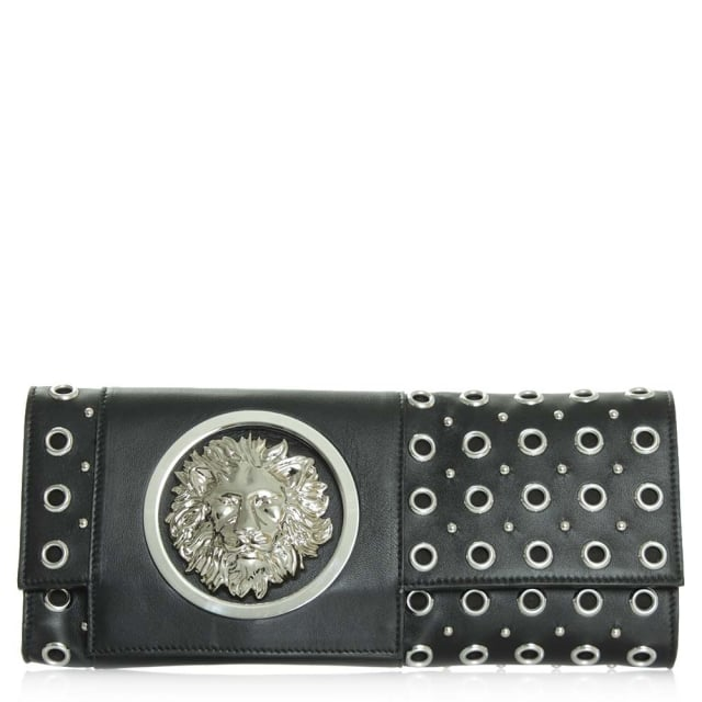 Versus Versace Black Leather Naomi Lion Clutch