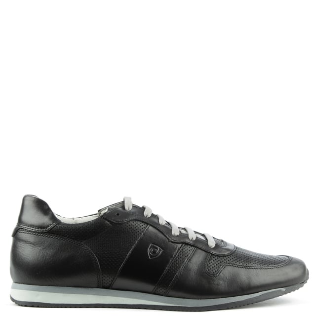 Enzo Feldini Black Leather Perforated Lace Up Trainer