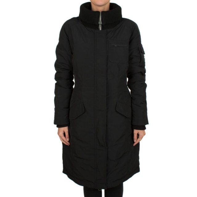 Featuring Black Long Flannel Duck Down Coat