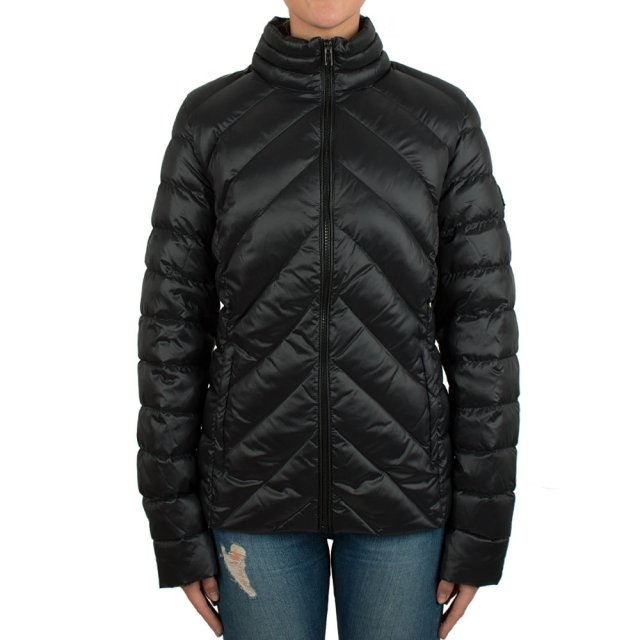 Featuring Black Nylon Quilted Duck Down Biker Jacket