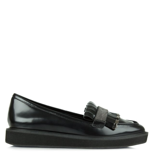 Lola Cruz Black Patent Leather Fringe Loafer