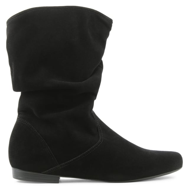 Via Uno Black Ruched Ankle Boot