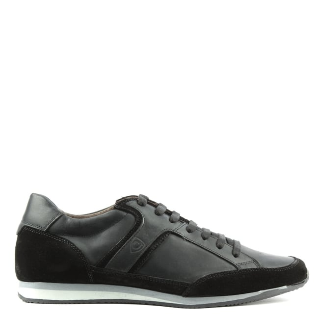 Enzo Feldini Black Suede & Leather Lace Up Trainer