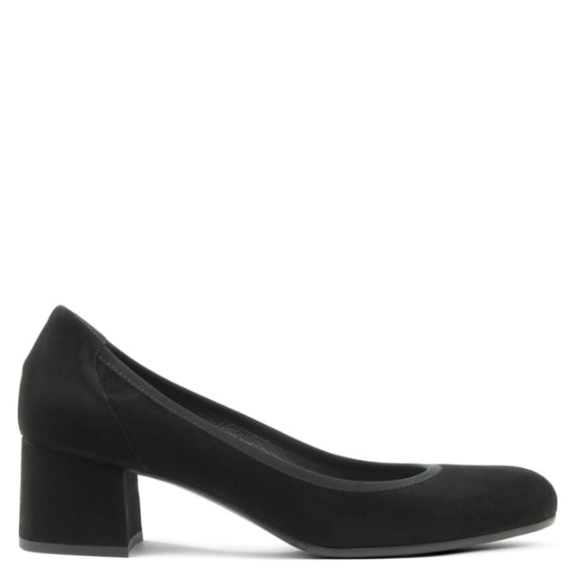 Calpierre Black Suede Round Toe Court Shoe