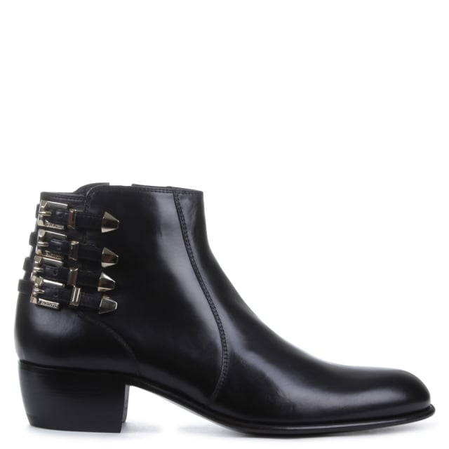 Cesare Paciotti Block Heel Black Leather Strapped Ankle Boot