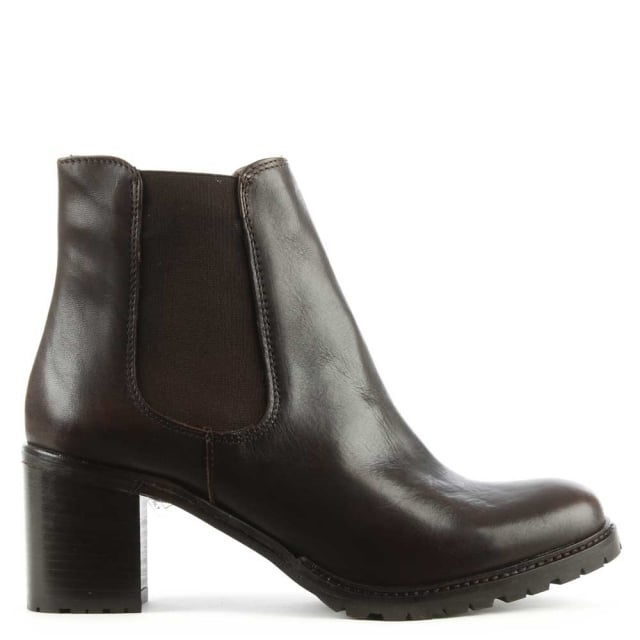 Lamica Brown Leather Chunky Heel Chelsea Boot