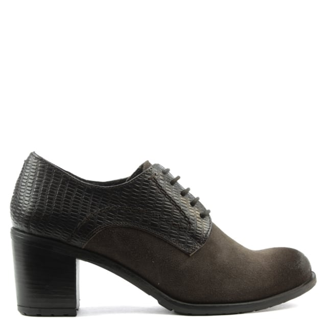 Manas Brown Leather Lace Up Block Heel Shoe