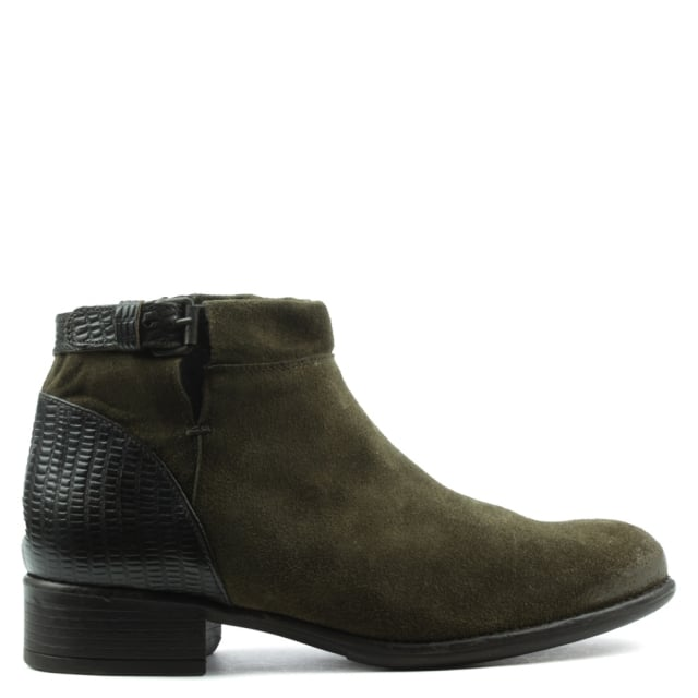 Manas Brown Leather Low Heel Buckled Ankle Boot