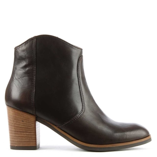 Lamica Brown Leather Western Ankle Boot