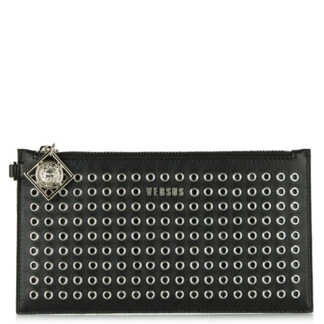 Versus Versace Crawford Black Leather Eyelet Clutch Bag