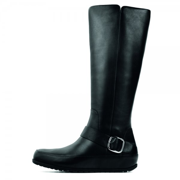 The FF2 by FitFlop Collection Duboot Tall/Buckle Black Leather Women's Boot