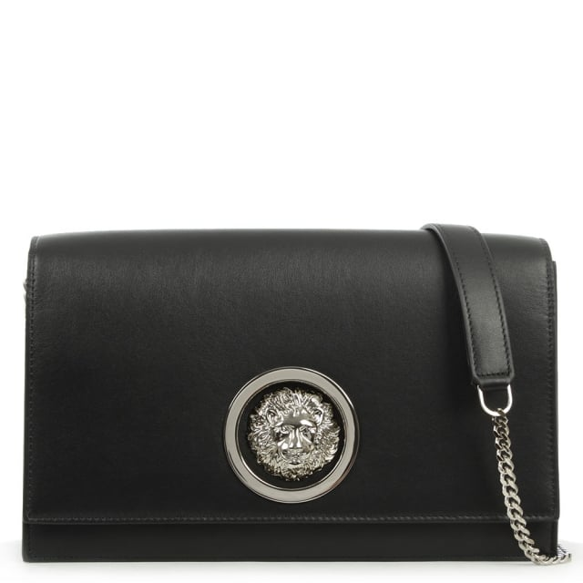 Versus Versace Flap Over Black Leather Shoulder Bag