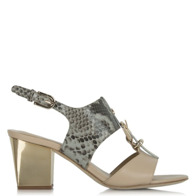 Lola Cruz Formation Grey Leather Reptile T Bar Sandal