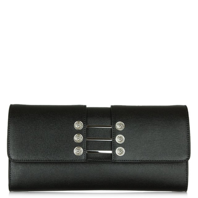 Versus Versace Gaga Black Leather Foldover Clutch