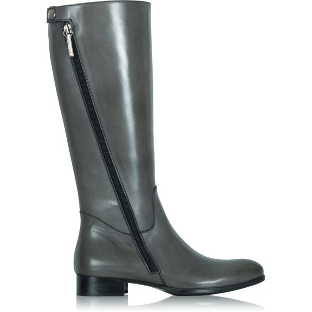 Calpierre Grey Leather Zipper Detail Knee Boot