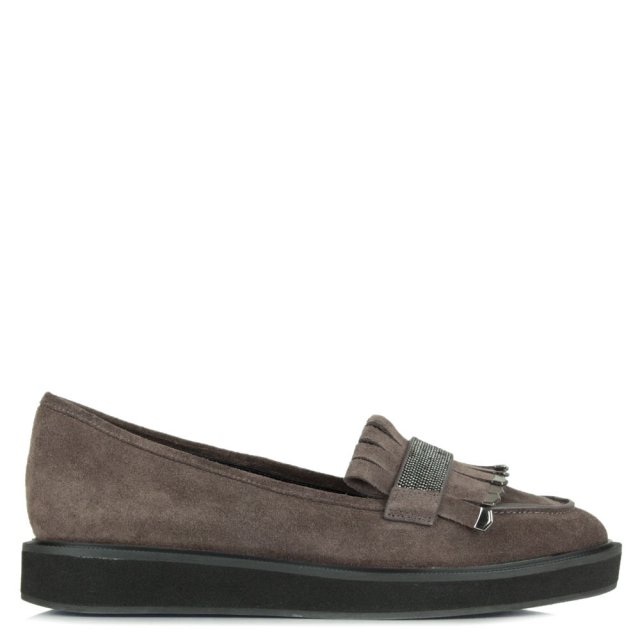 Lola Cruz Grey Suede Embellished Fringe Loafer