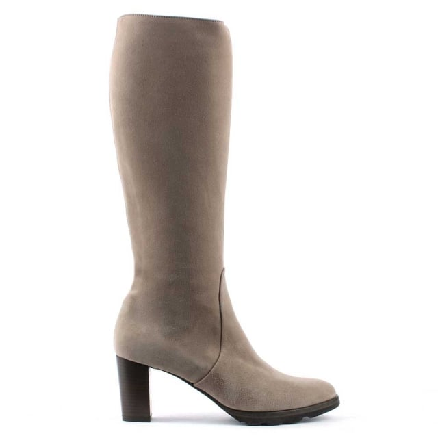 Calpierre Grey Suede Stacked Heel Knee Boot