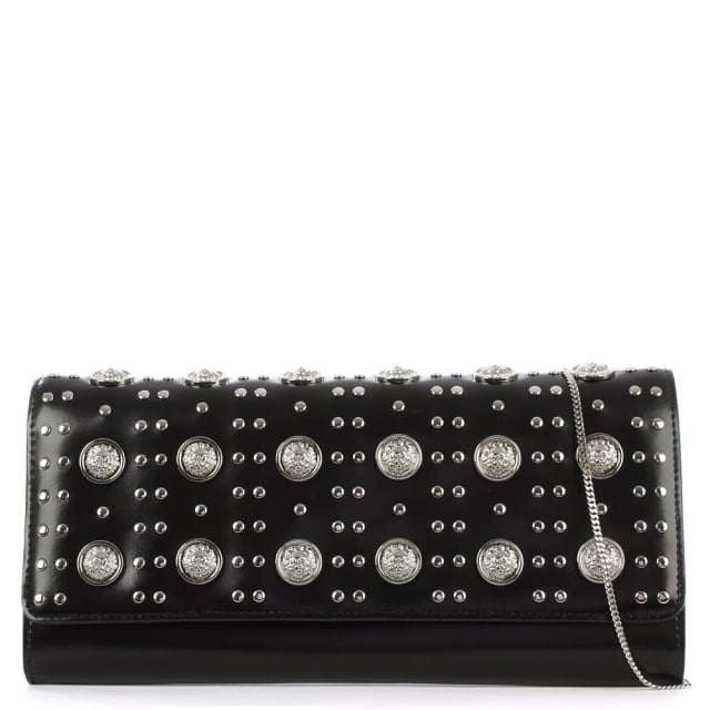 Versus Versace Heavily Embellished Black Leather Clutch Bag