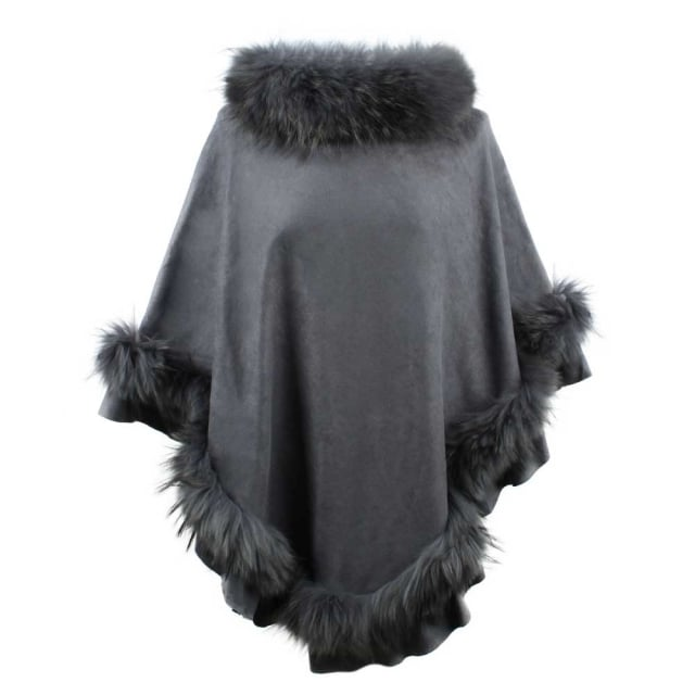 JayLey Kim Dark Grey Fur Trim Poncho