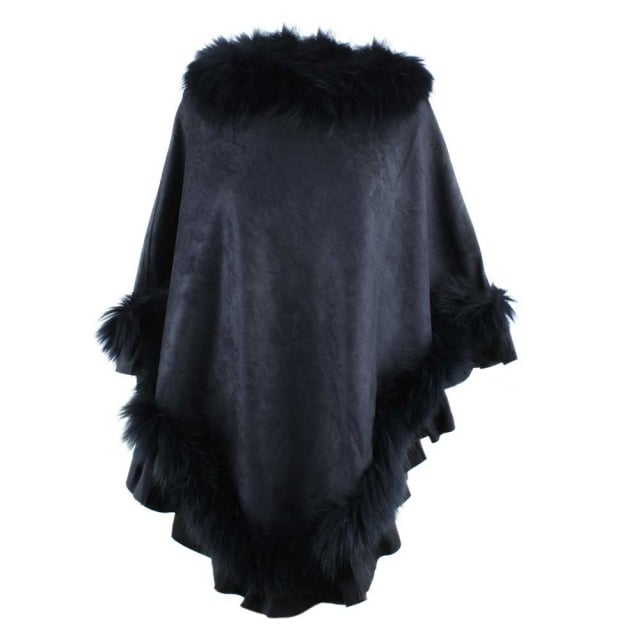 JayLey Kim Navy Fur Trim Poncho