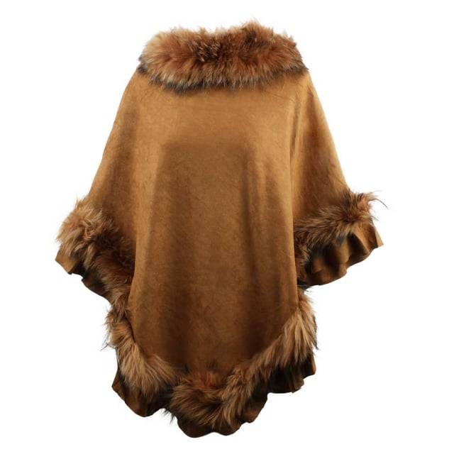 JayLey Kim Tan Fur Trim Poncho