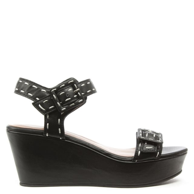 Lola Cruz Kotor Black Leather Double Buckle Sandal
