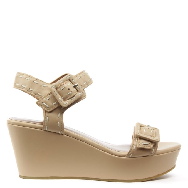 Lola Cruz Kotor Nude Leather Double Buckle Sandal