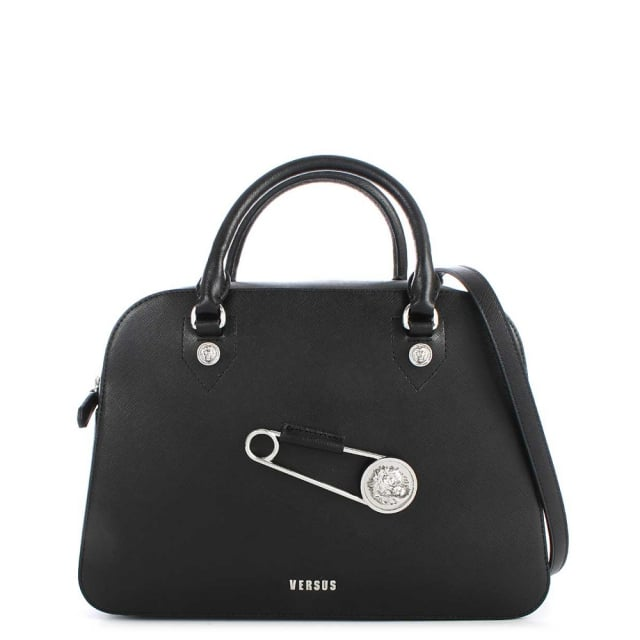 Versus Versace Kuta Black Leather Bowling Bag