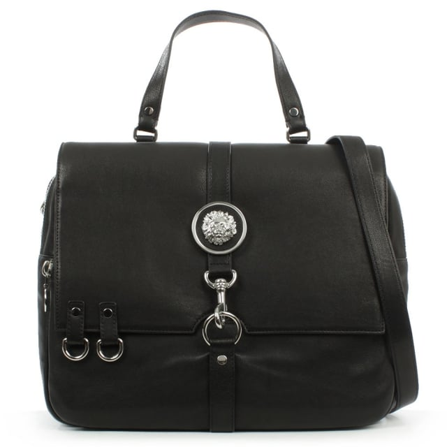 Versus Versace Large Black Leather Satchel Bag