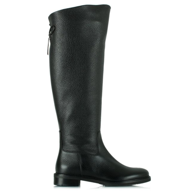 Luca Grossi Luca 12 Black Leather Flat Knee High Boot