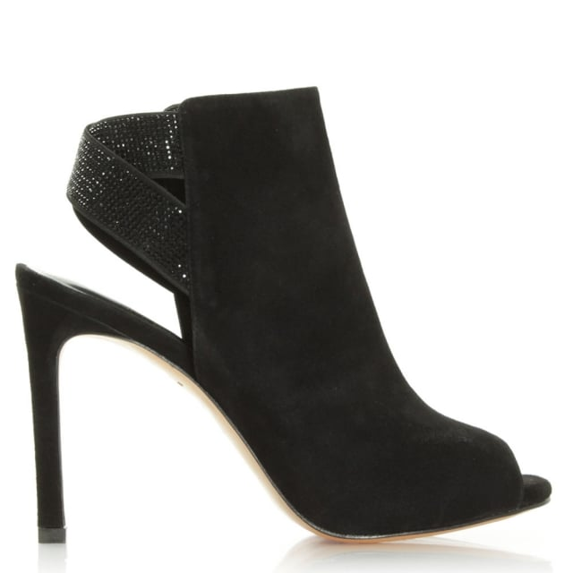 Lola Cruz Mishta Black Suede Diamante Strap Shoe Boot
