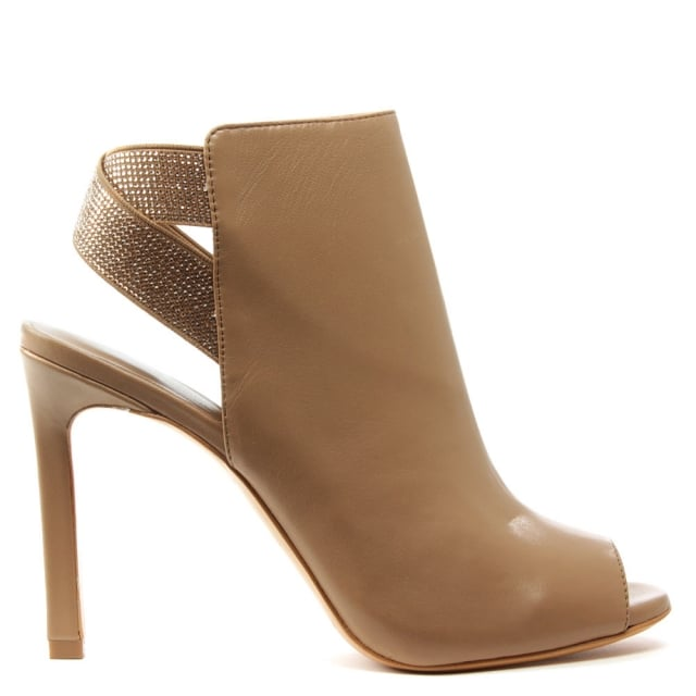 Lola Cruz Mishta Nude Suede Diamante Strap Shoe Boot
