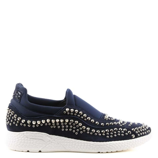 Cesare Paciotti Navy Suede Studded Sporty Trainer