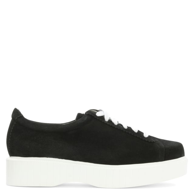 Robert Clergerie Pasketm Black Suede Flatform Lace Up Shoe