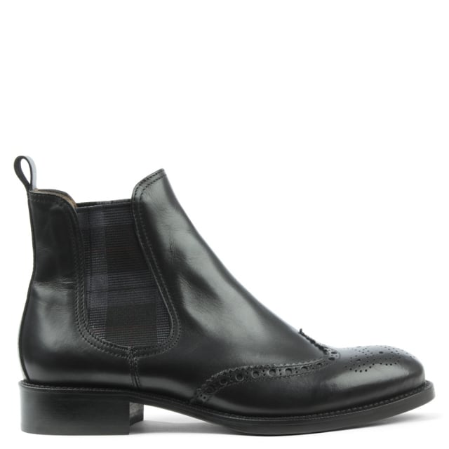 Calpierre Pull On Black Leather Brogue Chelsea Boot