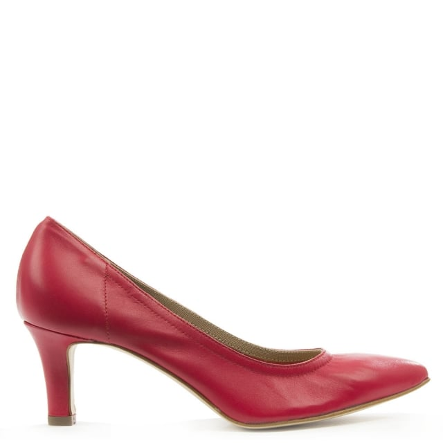 Mani Per Donna Piu Red Leather Low Heeled Court Shoe