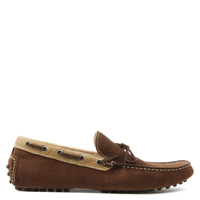 Roman Rock Rocky 111 Brown Suede Contrast Driving Moccasin