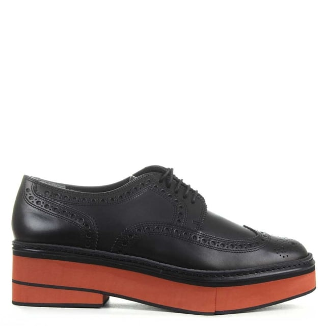 Robert Clergerie Safel Black Leather Contrast Unit Brogue