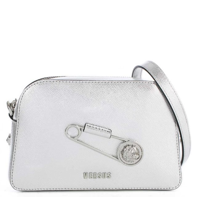 Versus Versace Sanur Silver Leather Cross-Body Bag