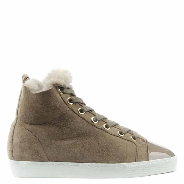 Hogl Shearl Taupe Suede Shearling Lined High Top Trainer