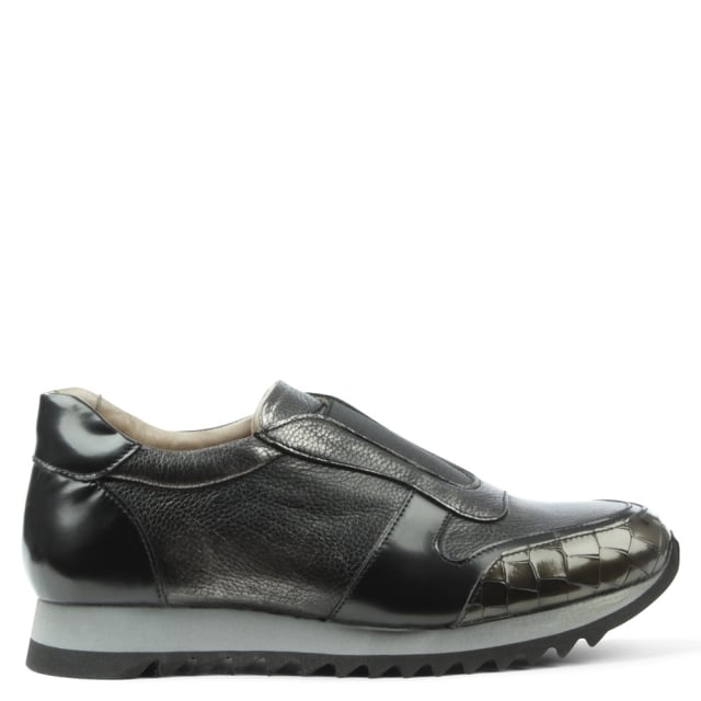 Calpierre Sporty Pewter Leather Slip On Trainer