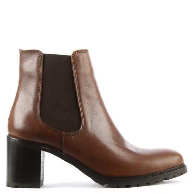 Lamica Tan Leather Chunky Heel Chelsea Boot