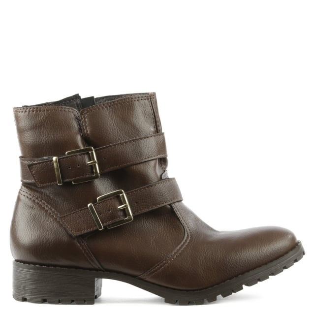 Via Uno Taupe Double Buckle Ankle Boot